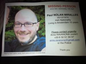 Buscamos a Paul Nolan Miralles. Desaparecido en Amsterdam.