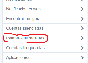 Silenciar palabras en Twitter